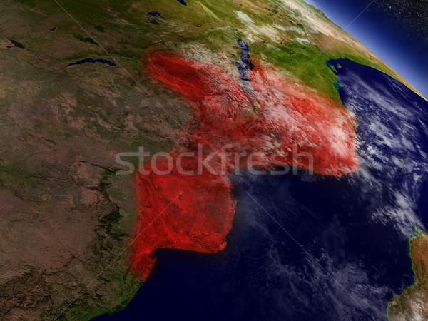 Moçambique espaço vermelho ilustração 3d Foto stock © Harlekino