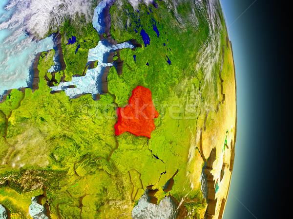 Belarus kırmızı uzay model yörünge 3d illustration Stok fotoğraf © Harlekino