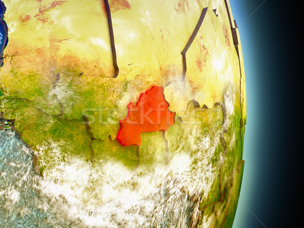 Burkina Faso in red from space Stock photo © Harlekino