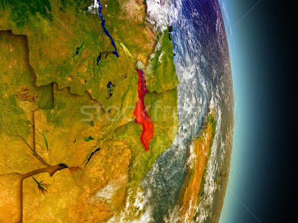 Malawi in red from space Stock photo © Harlekino