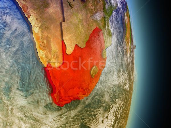 ЮАР красный пространстве модель орбита 3d иллюстрации Сток-фото © Harlekino
