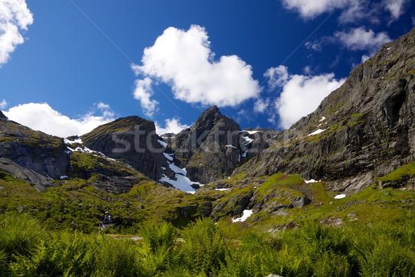 Mountain peaks on Lofoten Stock photo © Harlekino