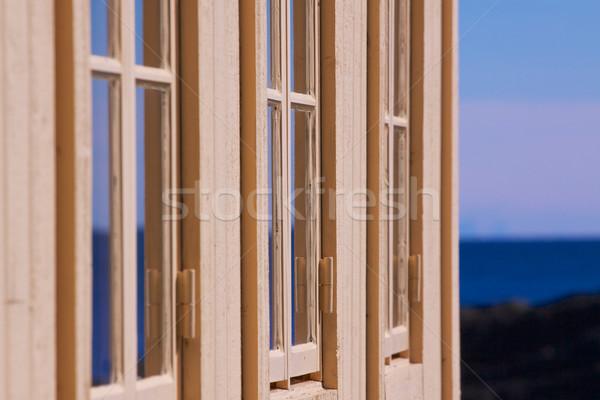 Windows três edifício fachada Foto stock © Harlekino