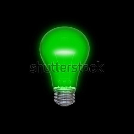 Verde lâmpada isolado preto luz Foto stock © Harlekino
