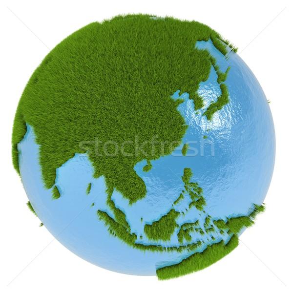 Zdjęcia stock: Asia · zielone · planety · pokryty · trawy · odizolowany