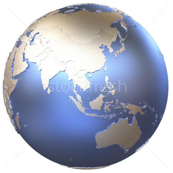 Asia on metallic Earth Stock photo © Harlekino