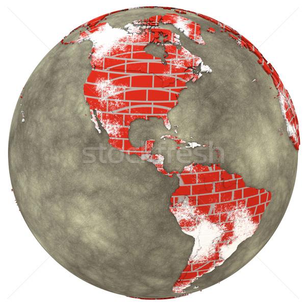 Parede de tijolos terra americano continentes modelo planeta terra Foto stock © Harlekino