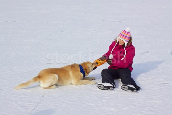 Stock foto: Mädchen · Eis · Schlittschuhe · Hund · glücklich · attraktive · Mädchen