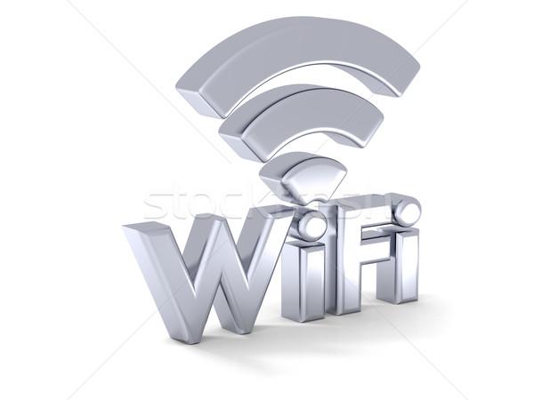 Argento wifi segno illustrazione 3d lucido simbolo Foto d'archivio © Harlekino