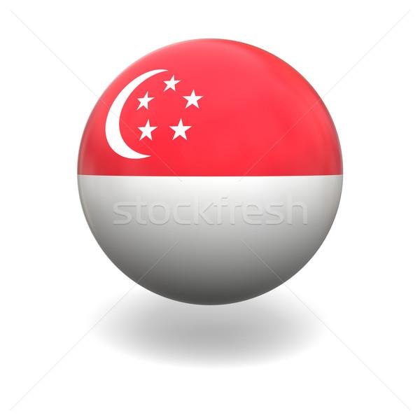 Stok fotoğraf: Singapur · bayrak · küre · yalıtılmış · beyaz