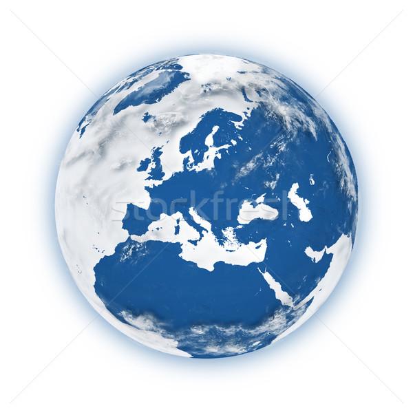 ヨーロッパ 地球 青 孤立した 白 ストックフォト © Harlekino