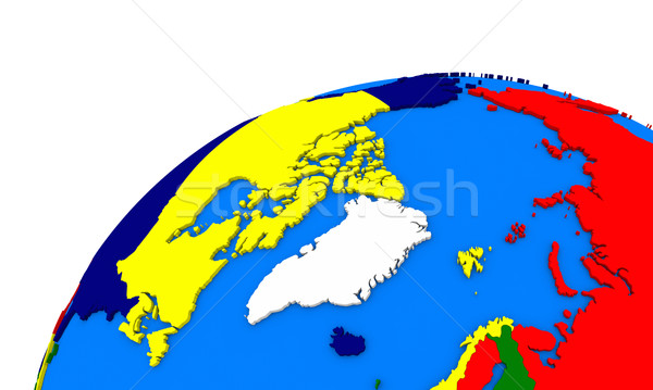 Arctic north polar region on Earth political map Stock photo © Harlekino