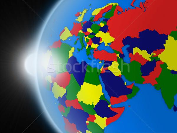 Pôr do sol região espaço planeta terra político Foto stock © Harlekino