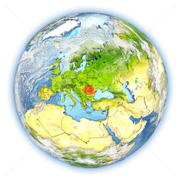 Roemenië aarde geïsoleerd Rood aarde 3d illustration Stockfoto © Harlekino