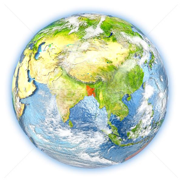 Bangladesh terra isolado vermelho planeta terra ilustração 3d Foto stock © Harlekino