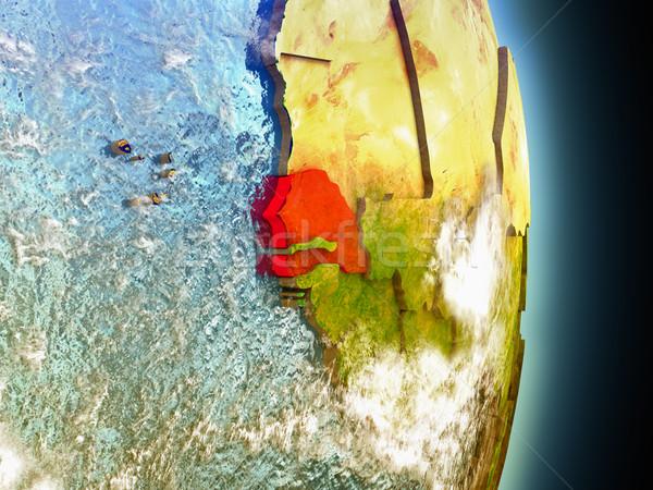 Piros űr modell pálya 3d illusztráció rendkívül Stock fotó © Harlekino