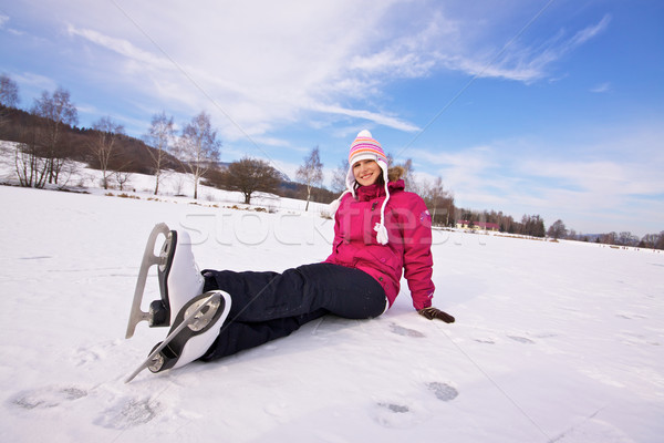 Girl with ice skates Stock photo © Harlekino