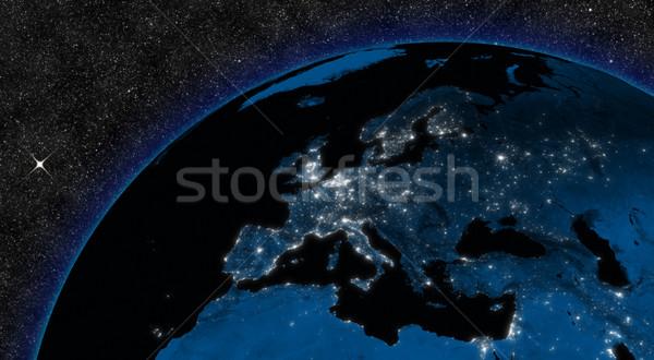 Gece Avrupa bölge şehir ışıkları uzay elemanları Stok fotoğraf © Harlekino
