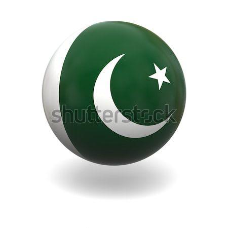 Bayrak Pakistan küre yalıtılmış beyaz grafik Stok fotoğraf © Harlekino