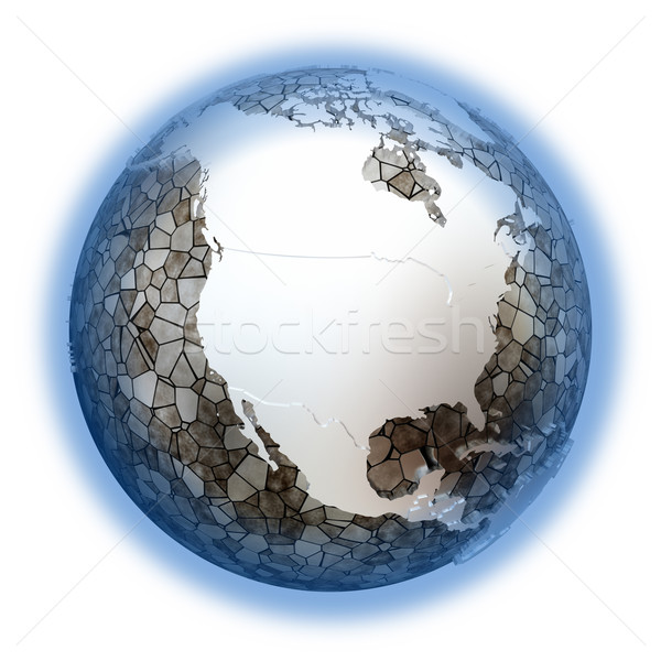 North America on metallic Earth Stock photo © Harlekino