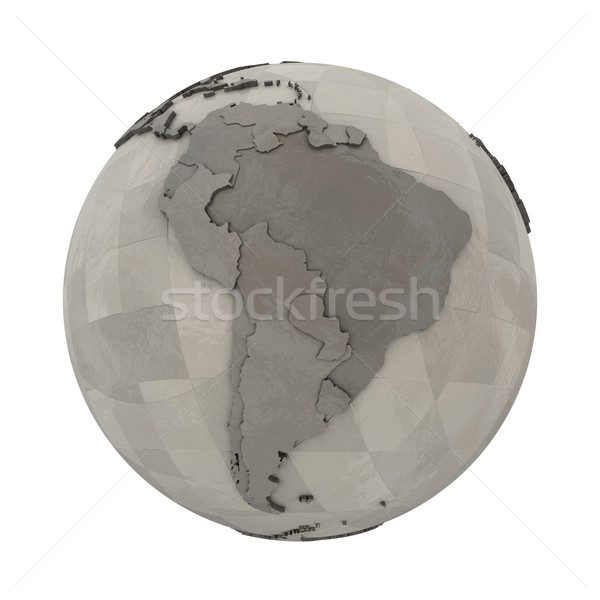 South America on metallic planet Earth Stock photo © Harlekino