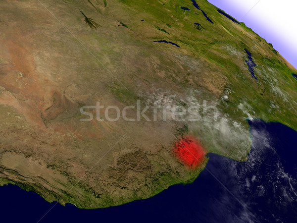 Swaziland from space highlighted in red Stock photo © Harlekino