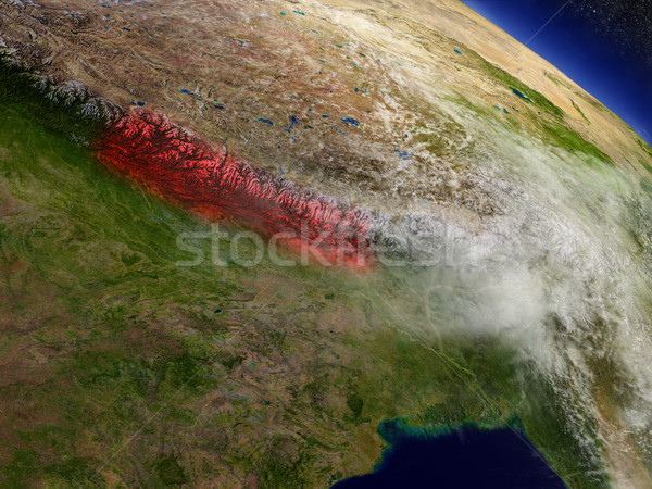 Nepal from space highlighted in red Stock photo © Harlekino