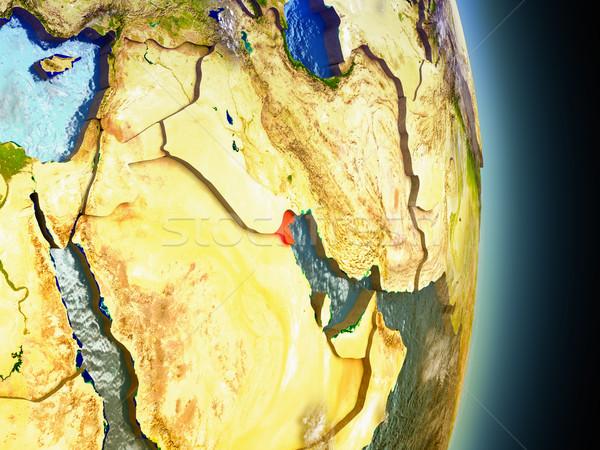 Кувейт красный пространстве модель орбита 3d иллюстрации Сток-фото © Harlekino