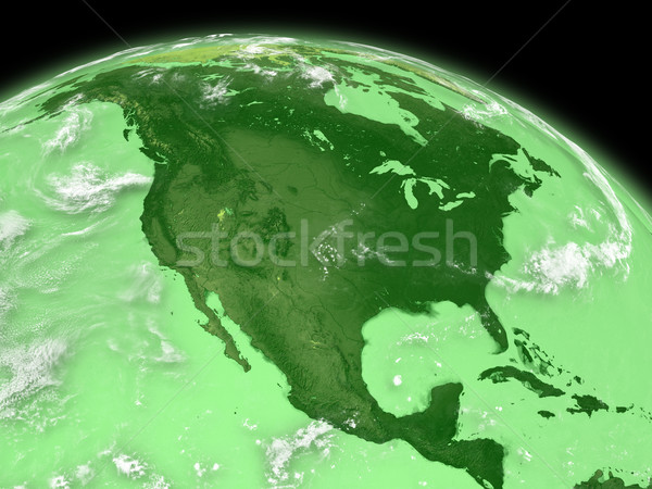 North America on green Earth Stock photo © Harlekino