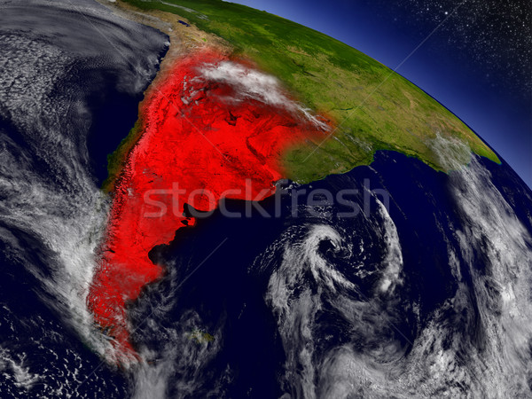 Argentina from space highlighted in red Stock photo © Harlekino