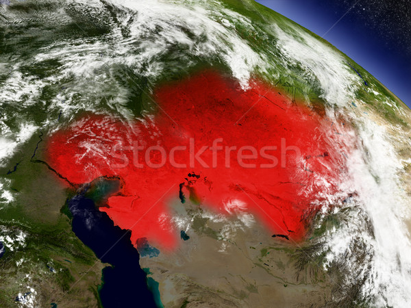 Kazakhstan from space highlighted in red Stock photo © Harlekino