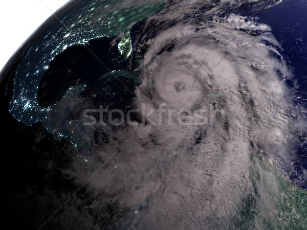Orkaan nacht amerika kustlijn 3d illustration communie Stockfoto © Harlekino