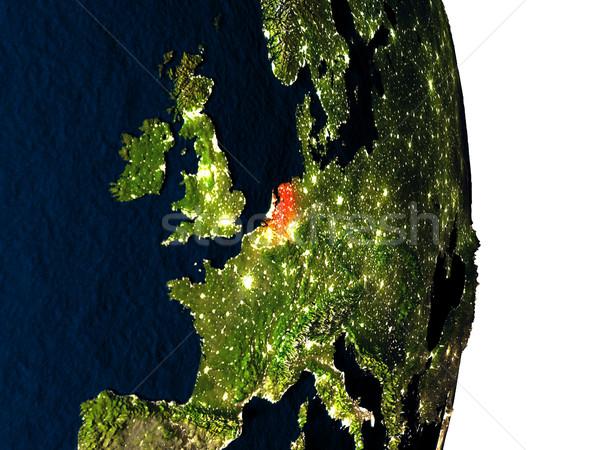 Hollanda uzay akşam karanlığı kırmızı şehir ışıkları yörünge Stok fotoğraf © Harlekino