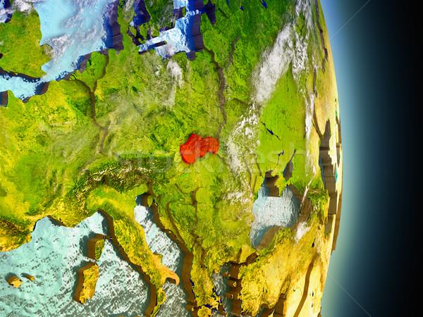 Slovakya kırmızı uzay model yörünge 3d illustration Stok fotoğraf © Harlekino