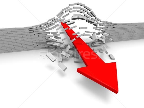прорыв иллюстрация красный стрелка кирпичная стена успех Сток-фото © Harlekino