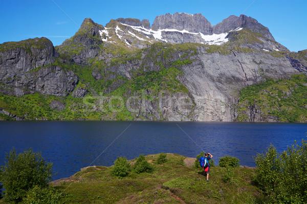 ストックフォト: ハイカー · ノルウェー · 小さな · リュックサック · 立って · 島々
