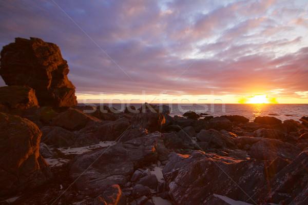 éjfél nap festői kilátás tengerpart szigetek Stock fotó © Harlekino