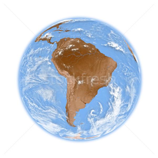 Ameryka południowa ziemi planety Ziemi odizolowany biały elementy Zdjęcia stock © Harlekino