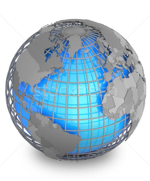 Terra cinza geográfico com isolado branco Foto stock © Harlekino