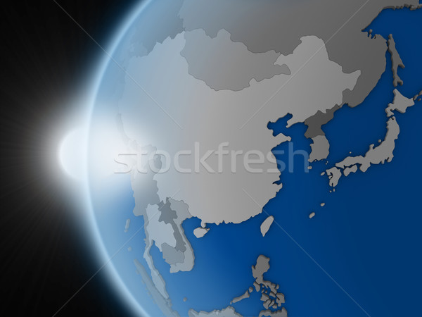 Sunset over east Asia region from space Stock photo © Harlekino