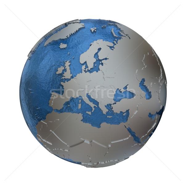 Europe on silver Earth Stock photo © Harlekino