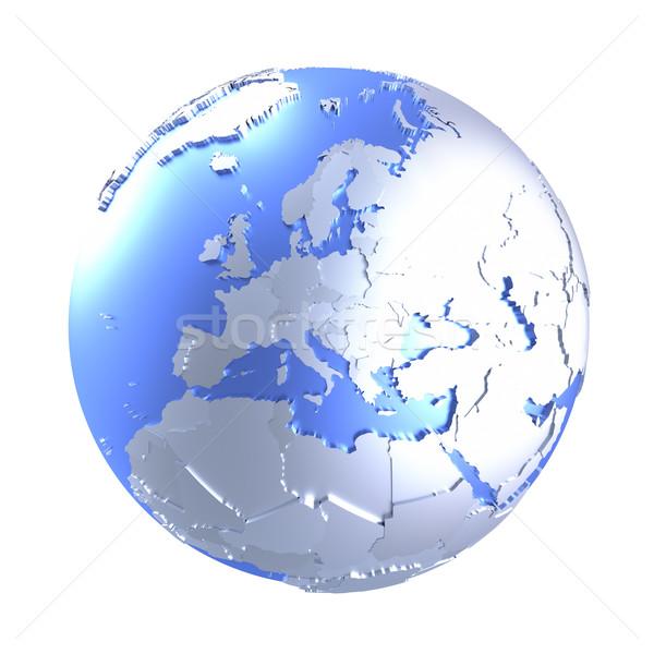 Avrupa parlak madeni toprak model dünya gezegeni Stok fotoğraf © Harlekino