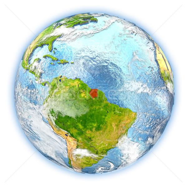 Суринам земле изолированный красный планете Земля 3d иллюстрации Сток-фото © Harlekino