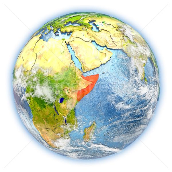 Сомали земле изолированный красный планете Земля 3d иллюстрации Сток-фото © Harlekino