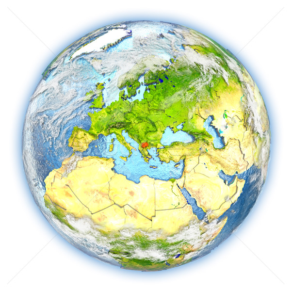 Makedonya toprak yalıtılmış kırmızı dünya gezegeni 3d illustration Stok fotoğraf © Harlekino