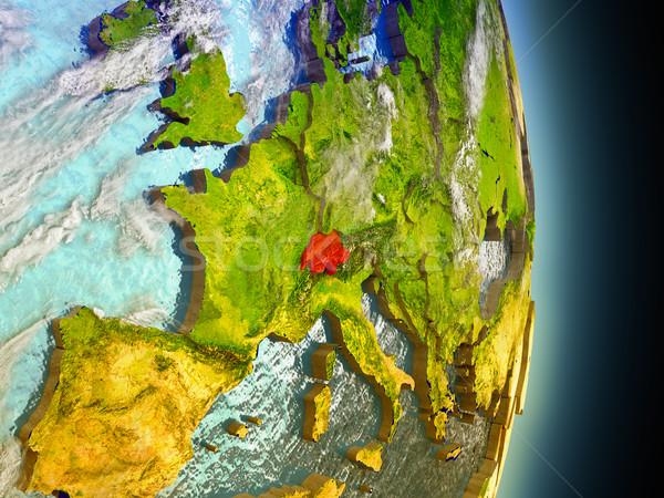 Switzerland in red from space Stock photo © Harlekino