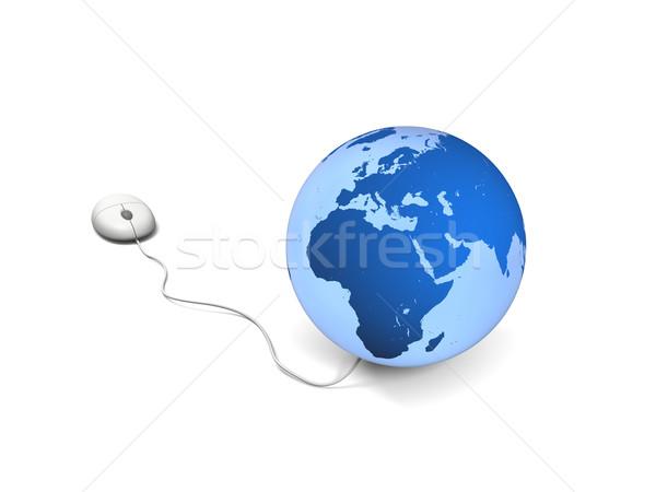 Мир иллюстрация Компьютерная мышь планете Земля изолированный белый Сток-фото © Harlekino