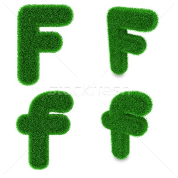 Letter F made of grass Stock photo © Harlekino