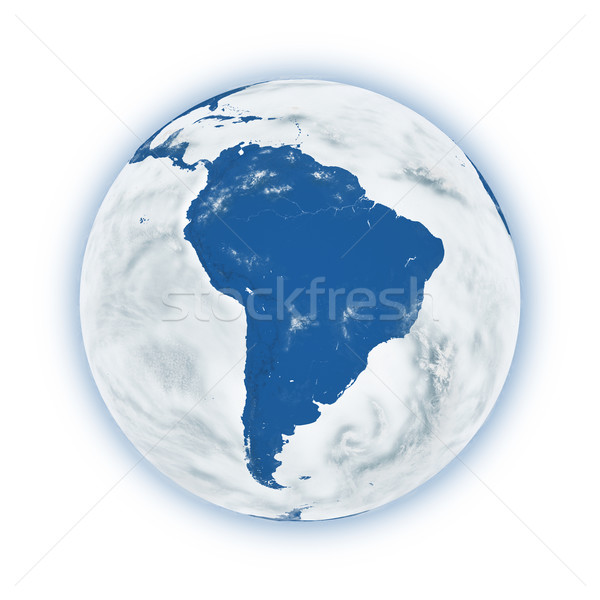 América del sur planeta tierra azul aislado blanco Foto stock © Harlekino
