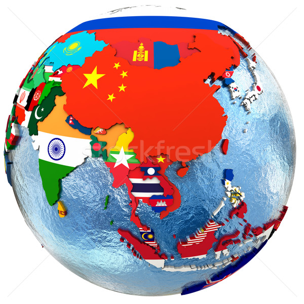 Político Asia mapa país bandera Foto stock © Harlekino
